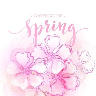Tło wiosna kwiatów akwarela. ilustracja