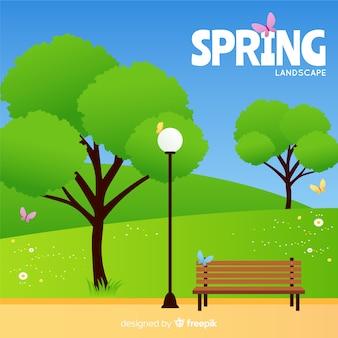 Tło wiosna płaskie pole