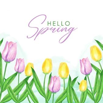 Tło wiosna tulipany akwarela