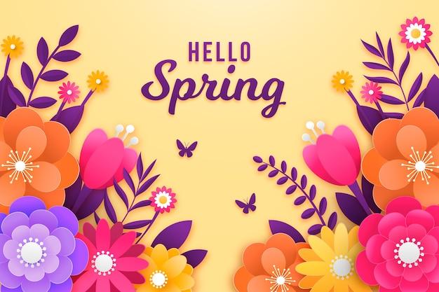 Tło wiosna w stylu kolorowy papier