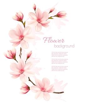 Tło wiosna z brunch kwiat różowe kwiaty.