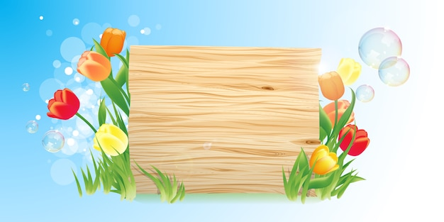 Tło wiosna z drewnianym szyldem