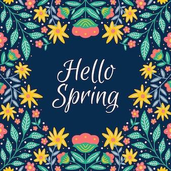 Tło wiosna z kwiatów i liści