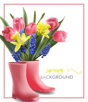 Tło wiosna z kwitnących wiosennych kwiatów tulipany narcissus muscari
