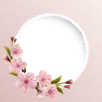 Tło wiosna z różowe kwiaty wiśni