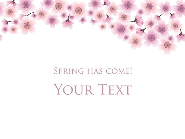Tło wiosna z wiśni w pełnym rozkwicie i przykładowy szablon tekstu