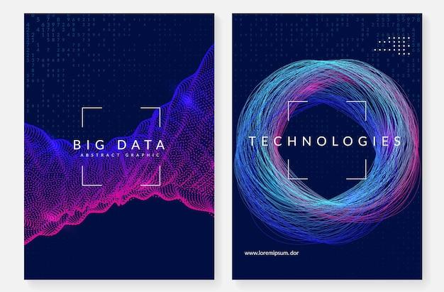 Tło wizualizacji. technologia dla dużych zbiorów danych, sztucznej inteligencji, głębokiego uczenia i obliczeń kwantowych. szablon projektu koncepcji serwera. tło wizualizacji geometrycznej.