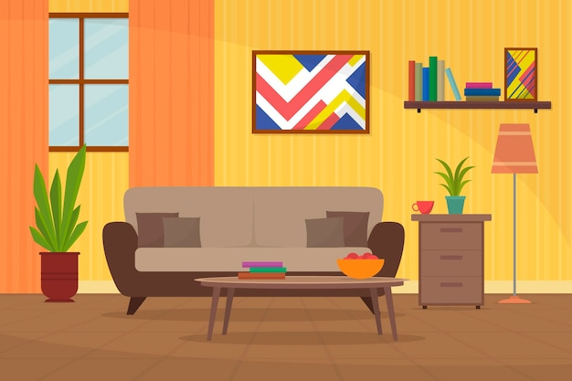 Tło wnętrza domu dla koncepcji wideokonferencji