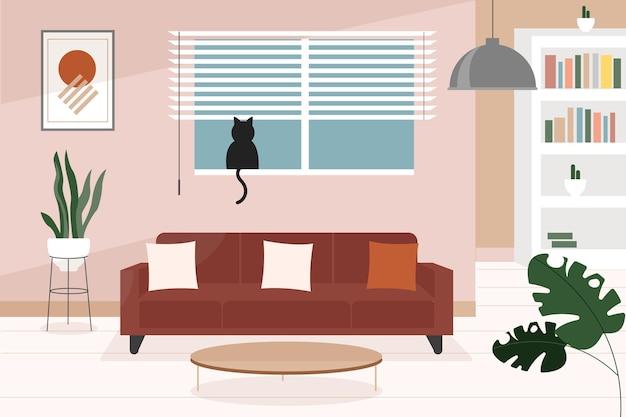 Tło wnętrza domu do wideokonferencji