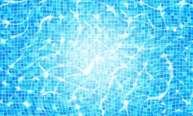 Tło wody basenu z efektem żrącej tętnienia i blasku słonecznego
