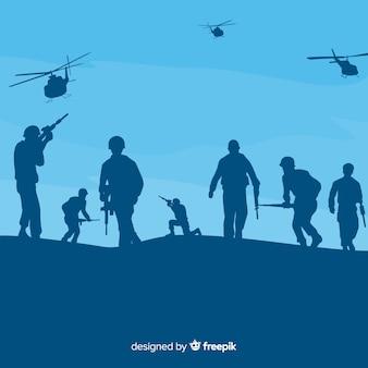 Tło wojny z sylwetkami żołnierzy