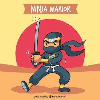 Tło wojownik ninja w płaskiej konstrukcji