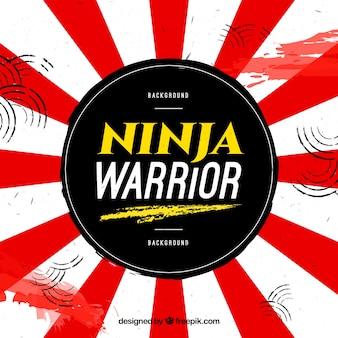 Tło wojownik ninja z flagą japonii