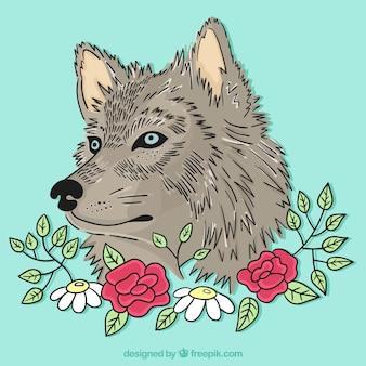 Tło wolf ilustrowane kwiatami