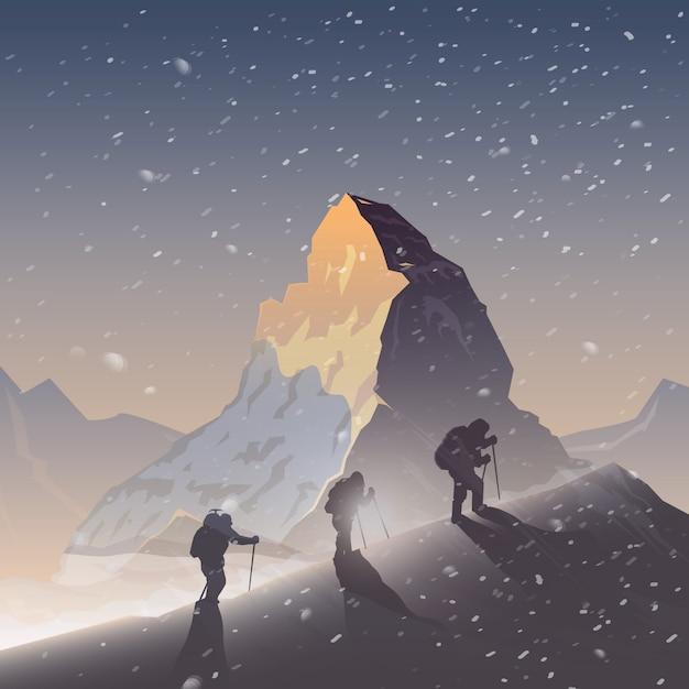 Tło. wspinaczka, trekking, piesze wycieczki.