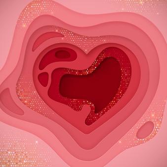 Tło wycięte z papieru w kształcie serca z czerwonymi warstwami i złotymi błyskotkami