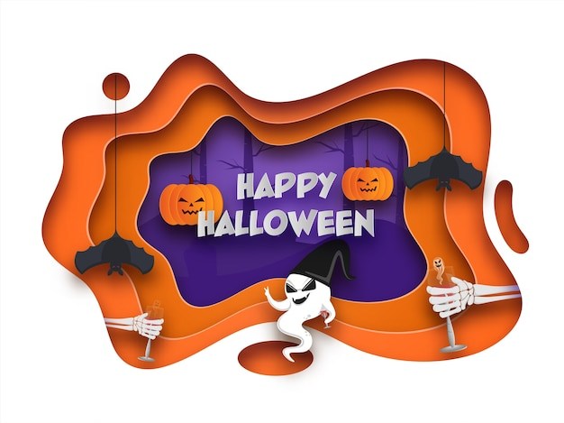 Tło wycięte z warstwy papieru ozdobione wiszącymi nietoperzami, dyniami, szkieletowymi rękami trzymającymi szklankę napoju i kreskówkowym duchem na happy halloween.