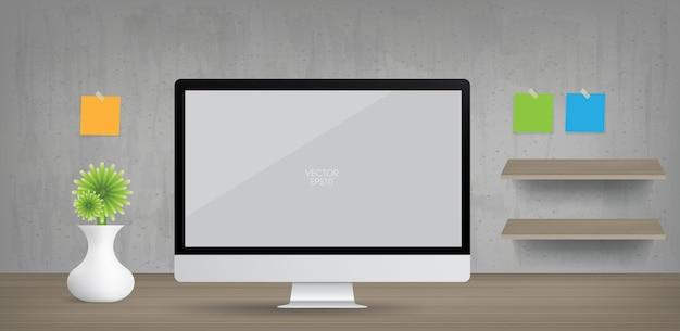 Tło wyświetlacza komputera w obszarze roboczym. otoczenie biznesowe dla projektowania wnętrz i dekoracji. ilustracja wektorowa.