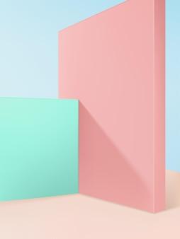 Tło wyświetlacza produktu z pastelowymi ścianami i jasnoniebieskimi kolorami nieba