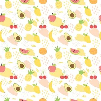 Tło wzór lato owoce.