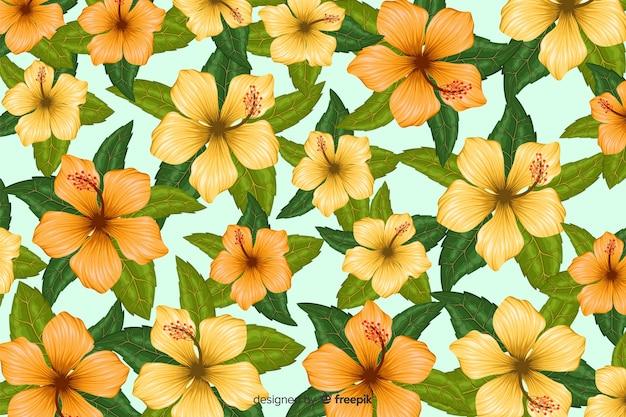 Tło wzór płaski tropikalny kwiat
