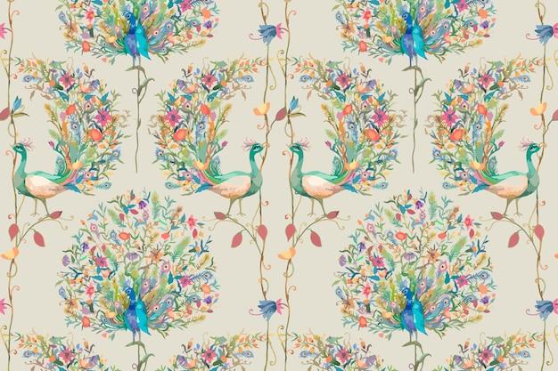 Tło wzór z akwarelą pawia i ilustracją kwiatową