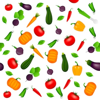 Tło wzór z warzywami. projekt karty z pozdrowieniami, letnie zaproszenie, modne tkaniny, prosty ornament, szablon tekstury, stylowy układ. ilustracja wektorowa.
