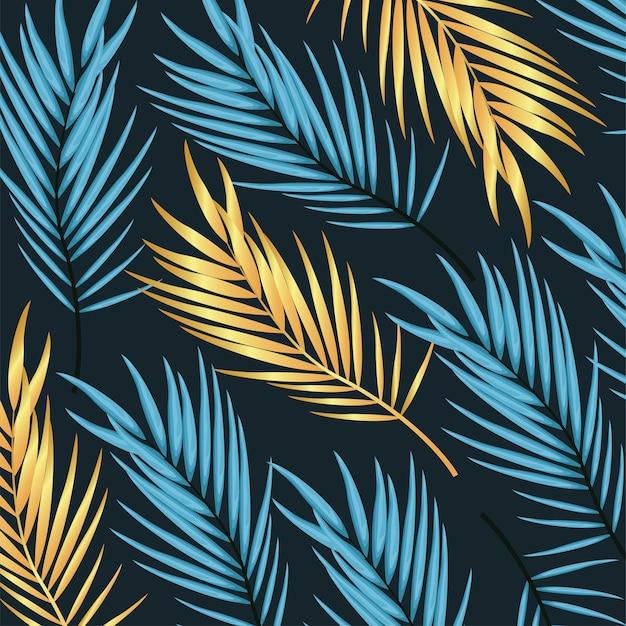 Tło wzór złote i niebieskie liście