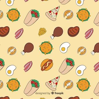 Tło wzór żywności rysowane ręcznie