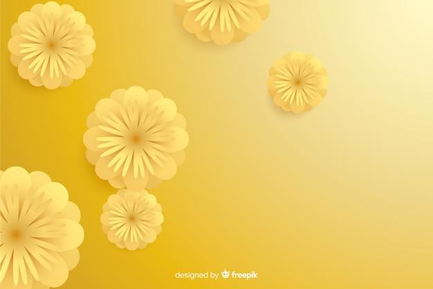 Tło z 3d złotymi kwiatami, islamski projekt