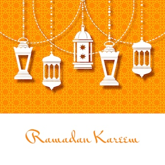 Tło z arabskimi lampionami na ramadan kareem