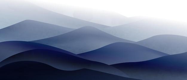 Tło z artystycznym obrazem gór i wzgórz we mgle w spokojnych chłodnych kolorach do wystroju wnętrza lub banera internetowego