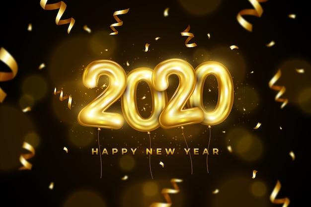 Tło z balonami tematycznymi na nowy rok