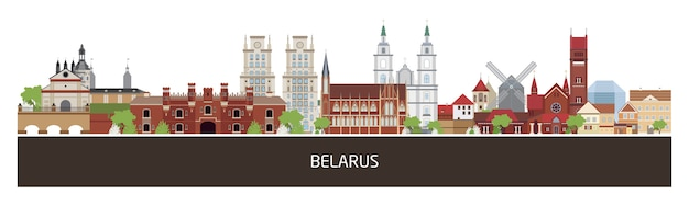Tło z białoruskimi budynkami kraju i miejscem na tekst. nagłówek orientacji poziomej witryny.