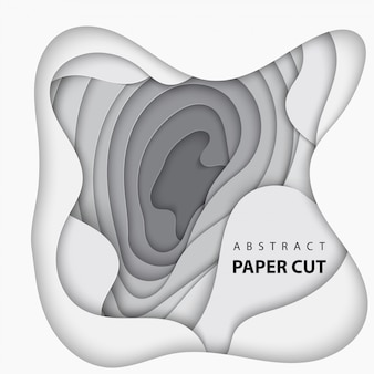 Tło z białym i szarym kolorze cięcia papieru