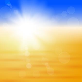 Tło z błyszczącym słońcem nad polem