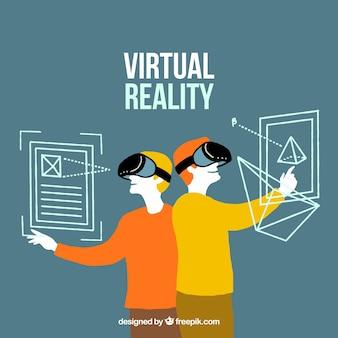 Tło z chłopakami grać wirtualną rzeczywistość