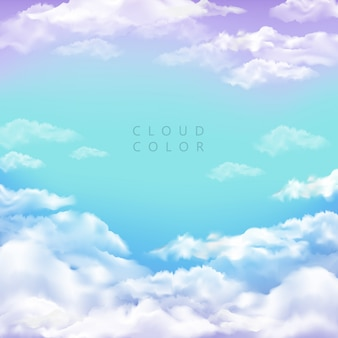 Tło z chmurami na koloru pełnym niebie