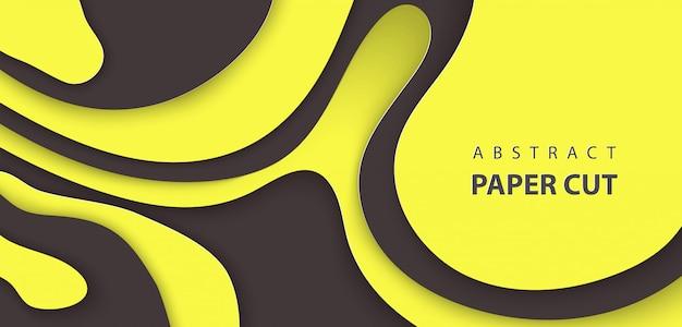 Tło z cięcia papieru w kolorze czarnym i żółtym