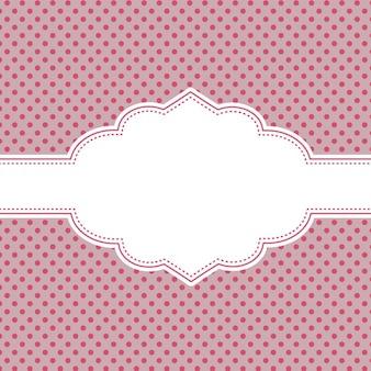 Tło z czarno-różowe kropki i ozdobną etykietą