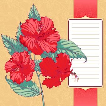 Tło z czerwonym hibiskusa z ramką na tekst