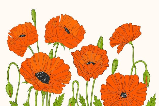 Tło z czerwonymi kwiatami