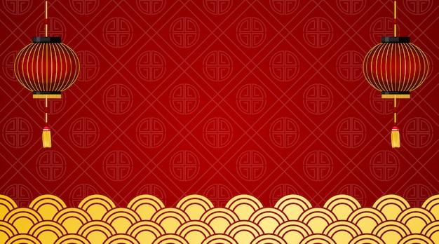 Tło z czerwonymi lampionami i chińskim projektem