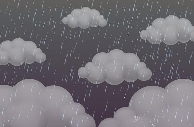 Tło z deszczem w ciemnym niebie