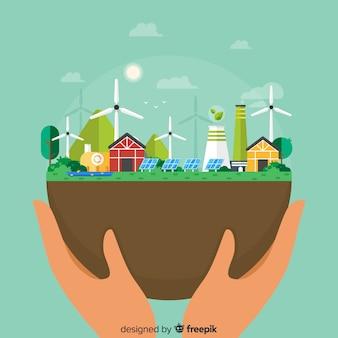 Tło z ekologii i recyklingu pojęciem