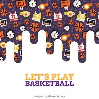 Tło z elementami koszykówki w płaskiej konstrukcji