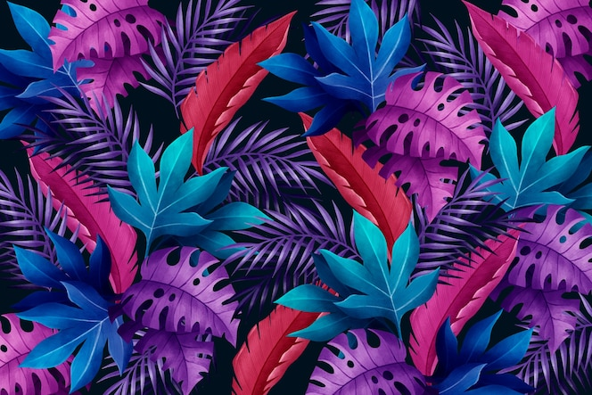 Tło z fioletowymi i niebieskimi tropikalnymi liśćmi
