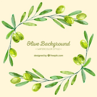 Tło z gałązkami oliwnymi w odcieniach zieleni