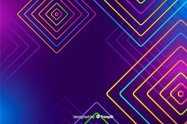 Tło z geometrycznymi kształtami i neonowym stylem