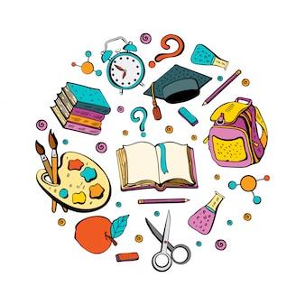 Tło z kolekcją różnych przedmiotów szkolnych do nauki.